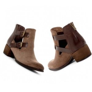 Isola Darnell Suede Cut Out Dual Buckle Booties